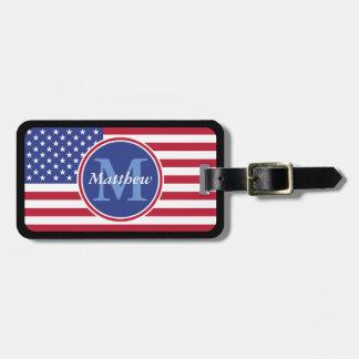 USA Flag Personalized Name and Monogram Luggage Tag