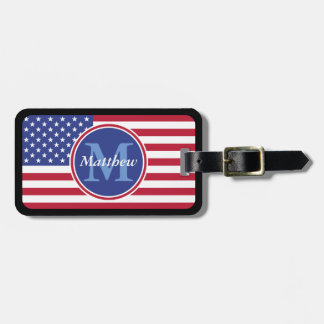 USA Flag Personalized Name and Monogram Tags For Bags