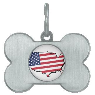 USA Flag Pet Name Tag