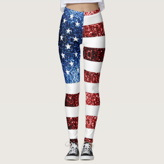 USA flag red and blue sparkles glitters Leggings