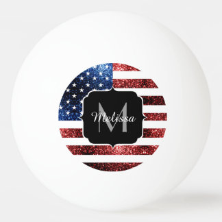 USA flag red and blue sparkles glitters Monogram Ping Pong Ball