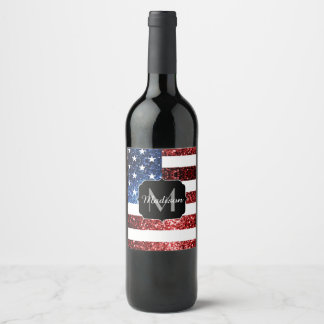 USA flag red and blue sparkles glitters Monogram Wine Label