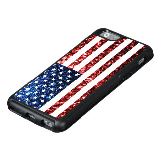 USA flag red and blue sparkles glitters OtterBox iPhone 6/6s Case