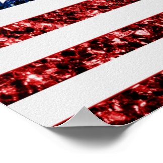 USA flag red and blue sparkles glitters Poster