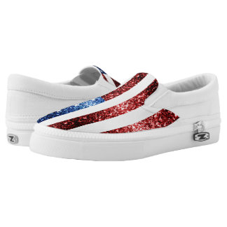 USA flag red and blue sparkles glitters Slip-On Sneakers