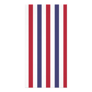 USA Flag Red and Flag Blue Narrow Thin Stripes Custom Photo Card