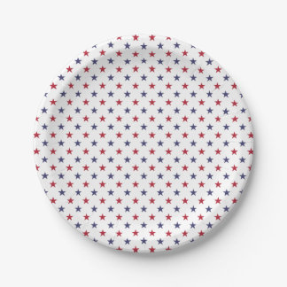 USA Flag Red and Flag Blue Stars 7 Inch Paper Plate