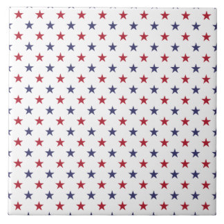 USA Flag Red and Flag Blue Stars Ceramic Tiles