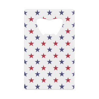 USA Flag Red and Flag Blue Stars Credit Card Bottle Opener