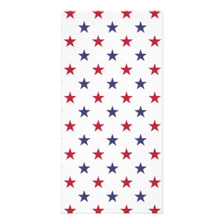 USA Flag Red and Flag Blue Stars Photo Card