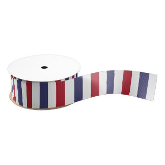 USA Flag Red and Flag Blue Wide Stripes on White Grosgrain Ribbon