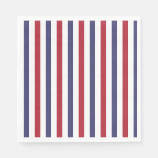 USA Flag Red and Flag Blue Wide Stripes on White Paper Napkins