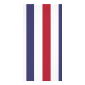 USA Flag Red and Flag Blue Wide Stripes on White Custom Photo Card