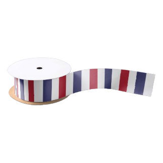 USA Flag Red and Flag Blue Wide Stripes on White Satin Ribbon