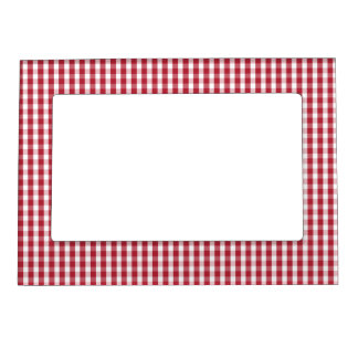 USA Flag Red and White Gingham Checked Frame Magnet