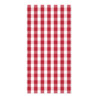 USA Flag Red and White Gingham Checked Photo Card