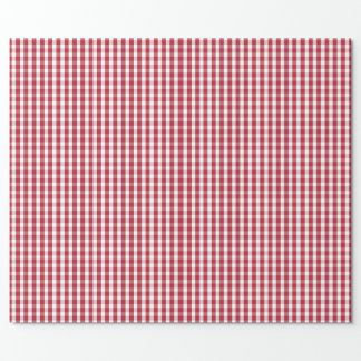 USA Flag Red and White Gingham Checked Wrapping Paper