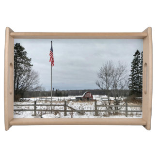 USA Flag Red Barn Serving Tray