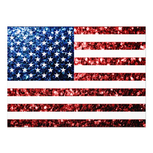 USA flag red & blue sparkles glitters Invitation