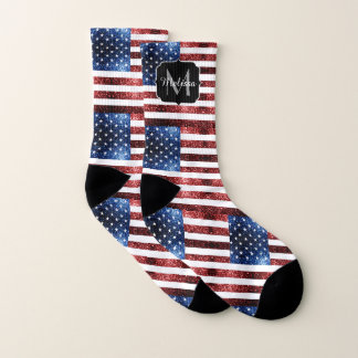 USA flag red blue sparkles glitters Monogram 1