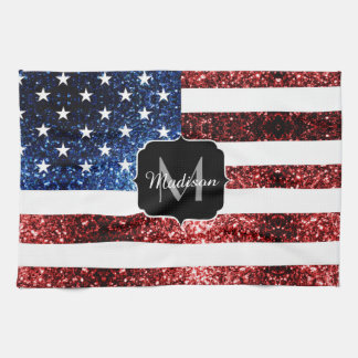 USA flag red blue sparkles glitters Monogram Kitchen Towel
