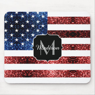 USA flag red blue sparkles glitters Monogram Mouse Pad