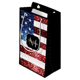 USA flag red blue sparkles glitters Monogram Small Gift Bag