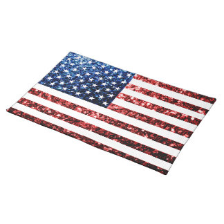 USA flag red & blue sparkles glitters Placemat