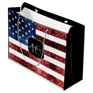 USA flag red blue sparkles glitters Sweet 16 Large Gift Bag