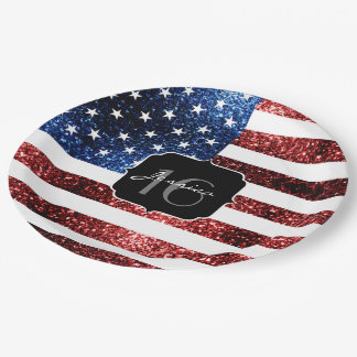 USA flag red blue sparkles glitters Sweet 16 Paper Plate