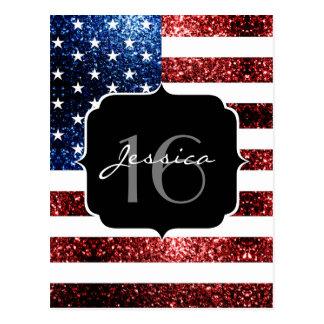 USA flag red blue sparkles glitters Sweet 16 Postcard