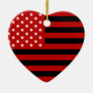 USA Flag - Red Stencil Ceramic Heart Ornament