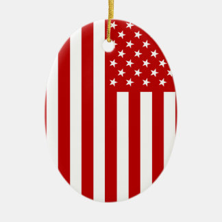 USA Flag - Red Stencil Ceramic Oval Ornament