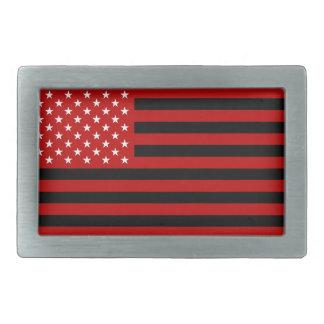 USA Flag - Red Stencil Rectangular Belt Buckle