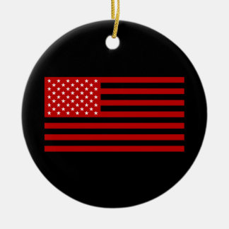 USA Flag - Red Stencil Round Ceramic Ornament