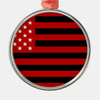 USA Flag - Red Stencil Silver-Colored Round Ornament
