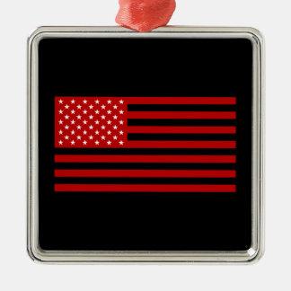 USA Flag - Red Stencil Silver-Colored Square Ornament