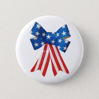 USA Flag Red White and Blue Bow Ribbon 2 Inch Round Button