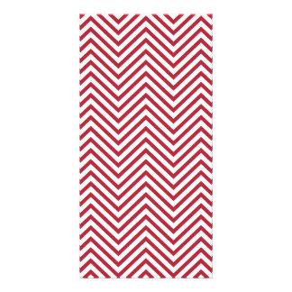 USA Flag Red & White Wavy ZigZag Chevron Stripes Photo Card