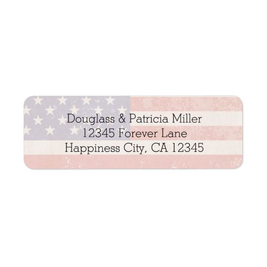 USA Flag Return Address Label