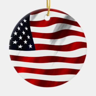 USA Flag Round Ceramic Ornament
