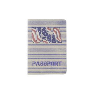 USA flag rustic denim travel monogram Passport Holder
