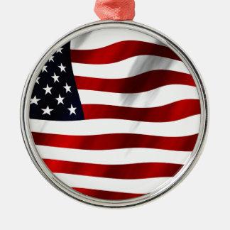 USA Flag Silver-Colored Round Ornament