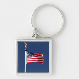USA Flag Silver-Colored Square Keychain