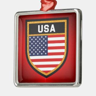 USA Flag Silver-Colored Square Ornament