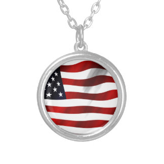 USA Flag Silver Plated Necklace