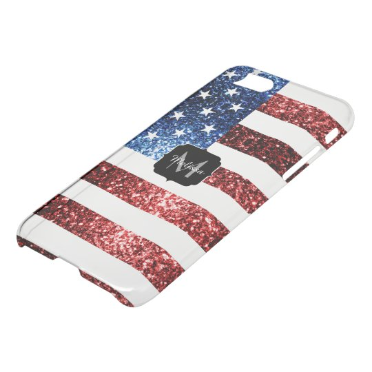 USA flag sparkles glitters Monogram Uncommon iPhone 8/7 Case