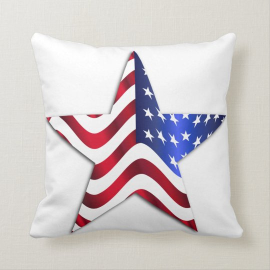 Usa Flag Star Throw Pillow