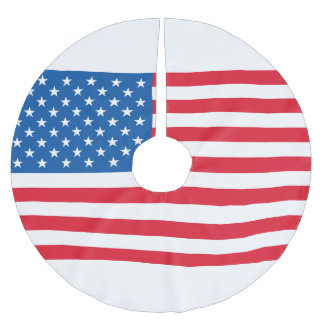 USA Flag stars and stripes Brushed Polyester Tree Skirt