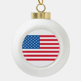 USA Flag stars and stripes Ceramic Ball Christmas Ornament